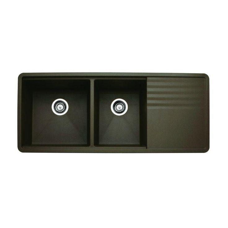 Precis Multi Level Undermount Granite Composite 48 In. Double Bowl Kitchen  Sink With Drainer