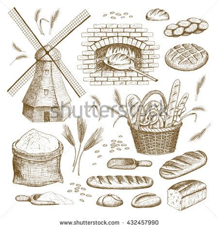 Vector hand drawn bakery illustration collection. Windmill, oven, bread, basket…
