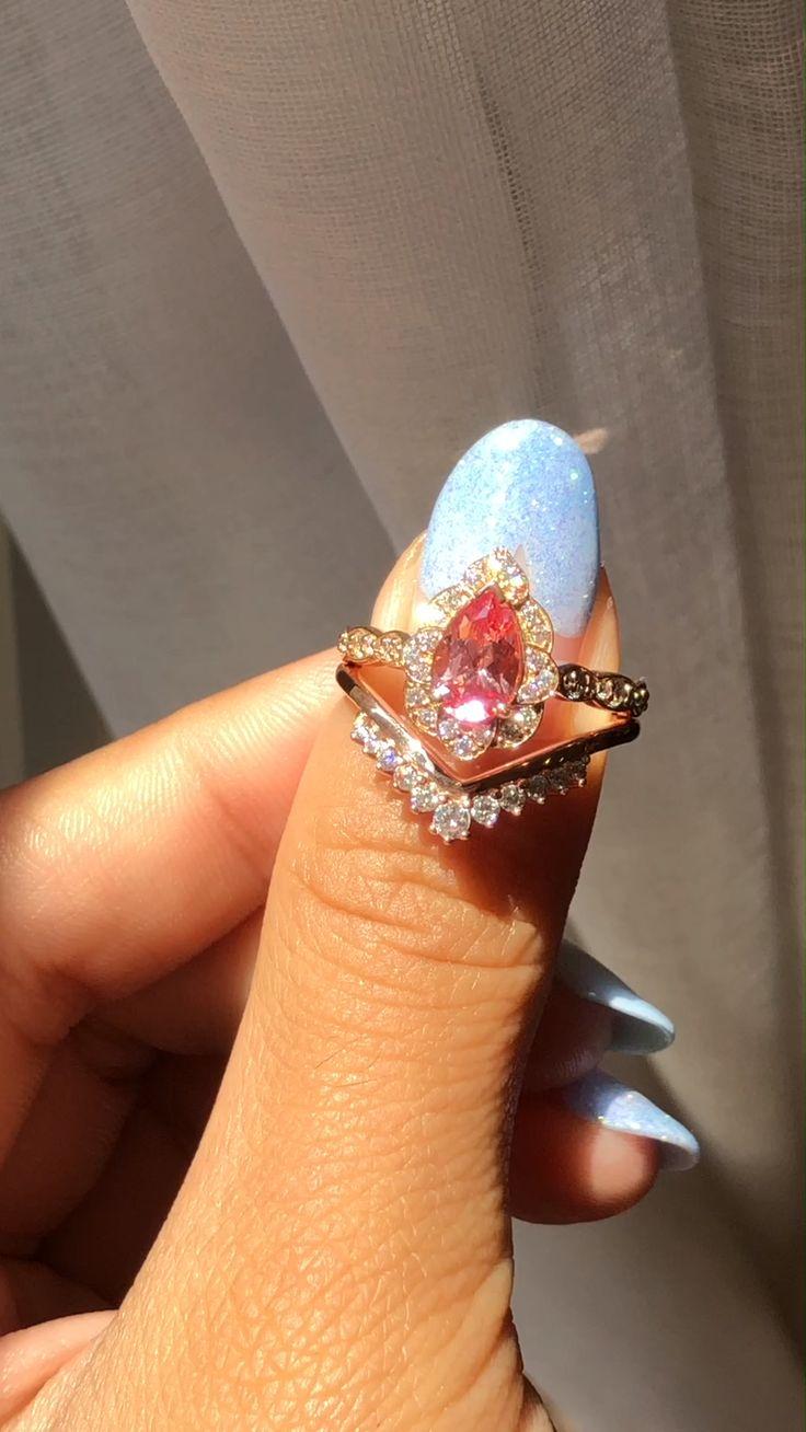 Vintage Floral Pear Cut Peach Sapphire Bridal Ring Set by La More Design