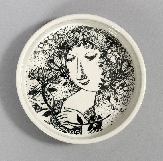 bjorn wiinblad dish nymolle black denmark faience danish vintage retro collectable rosenthal