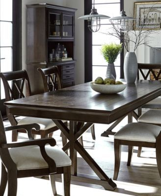 Baker Street Dining Furniture, 7-Pc. Set (Dining Trestle Table & 6 ...