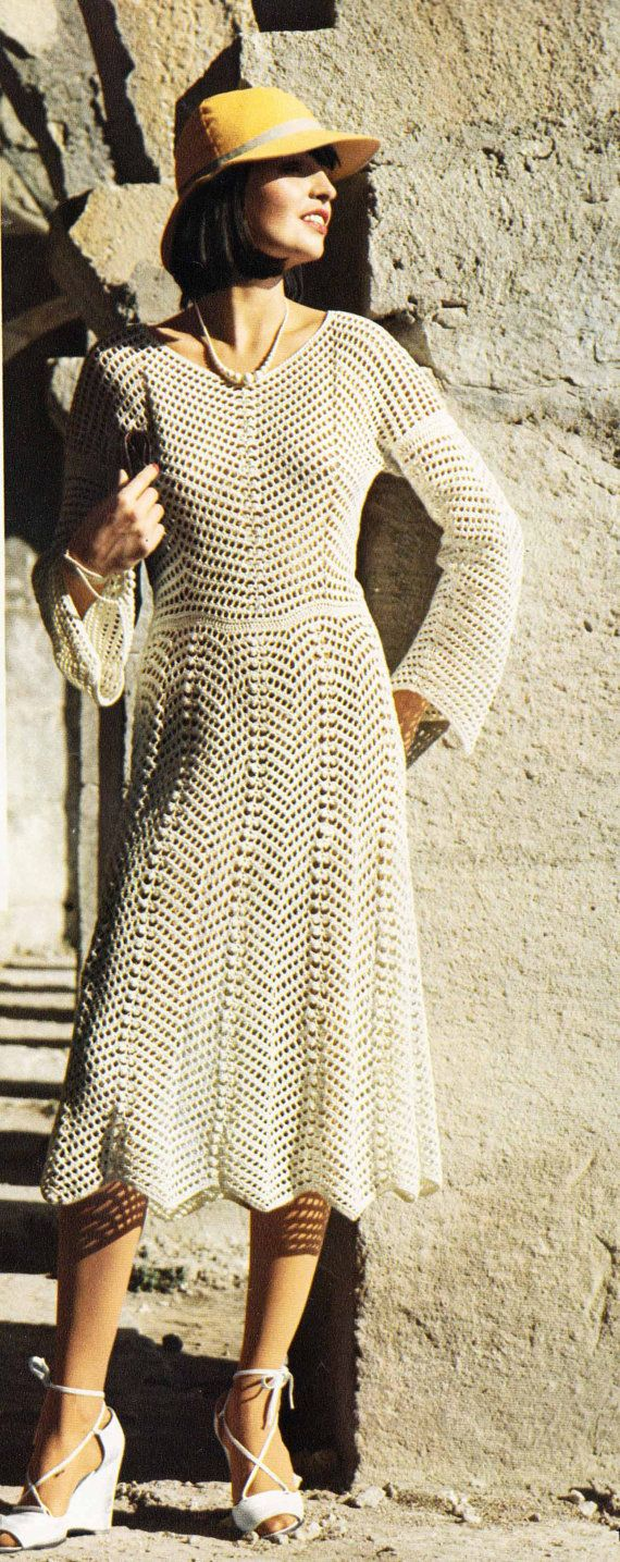 A chic lacy dress to crochet from the 70s - midi length, so on-trend this season. With long or short sleeves, its a lovely dress for a wedding.