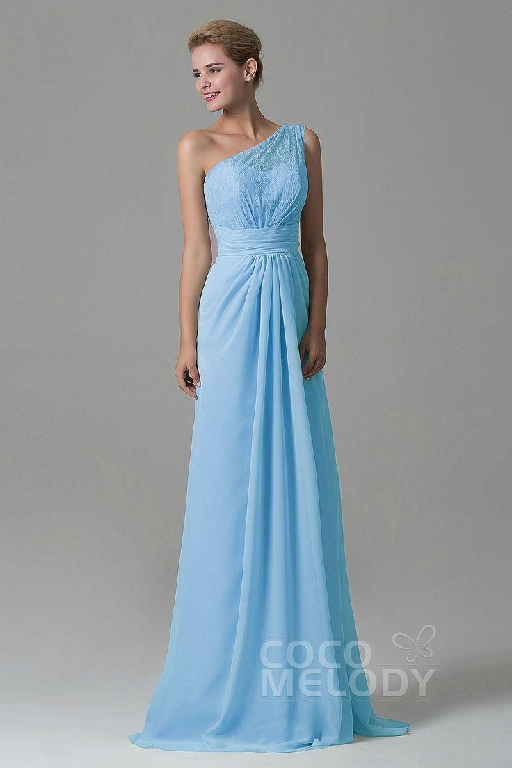 Charming Sheath One Shoulder Natural Floor Length Lace/Chiffon Glacier Sleeveless Side Zipper Bridesmaid Dress COZK16004 #bridesmaiddresses #bridesmaids #cocomelody #customdresses #oneshoulderdresses #bluedresses