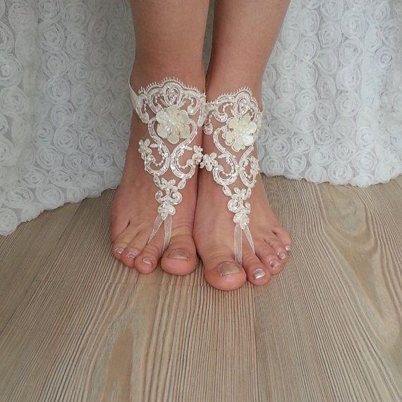 marfil descalzo cordón francés tobilleras de boda por BarefootShop