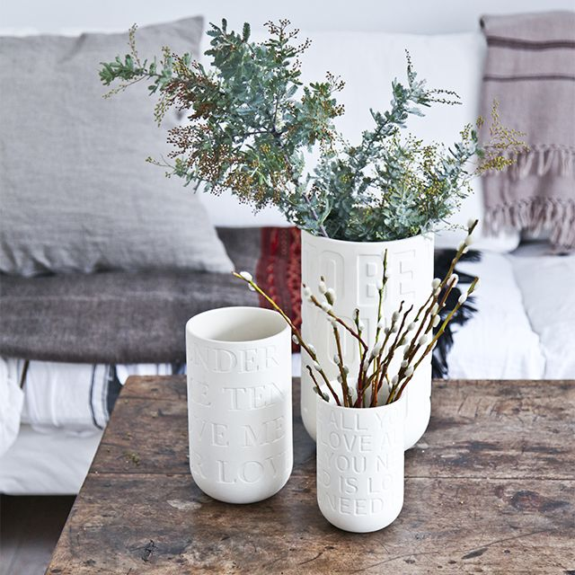 The beautiful vases are produced of raw and untreated stoneware, matching today's design trends of natural materials perfectly.