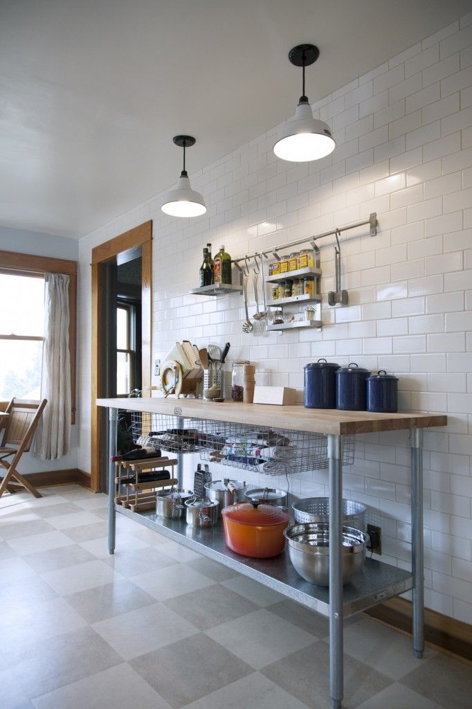 Full Wall Of Subway Tile Steel And Butcher Block Counter