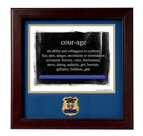 POLICE Medallion Solid Wood Frame Definition of Courage Stamped and Numbered Print