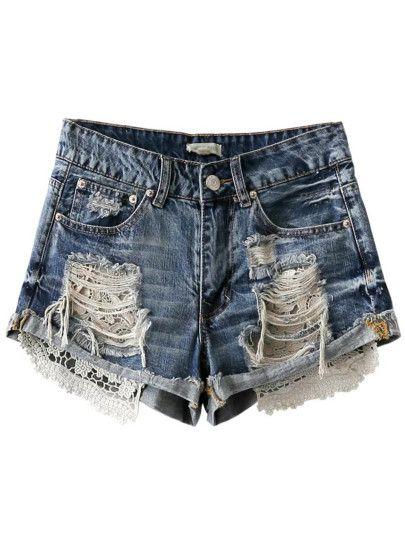 Shorts rotos crochet cremallera - azul