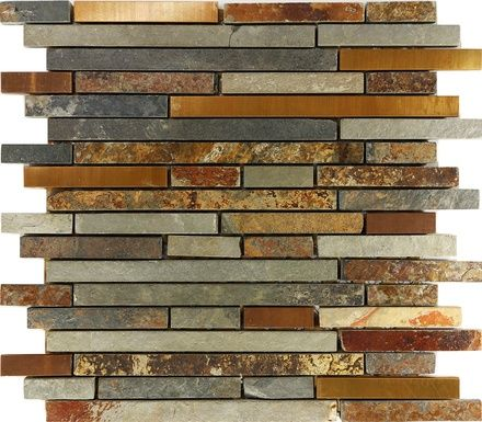 Rustic Copper Linear Natural Slate Blend Mosaic Tile                                                                                                                                                                                 More
