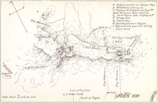 """Map of Spion Kop and surrounding hills. Points A & B are on Spion Kop, from the book, """"My Reminiscences of the Anglo-Boer War"""" by General Ben Viljoen, pubished in 1902"""