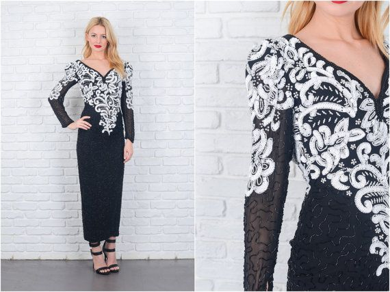 Vintage anni 80 nero  bianco Sequin Beaded Dress di thekissingtree