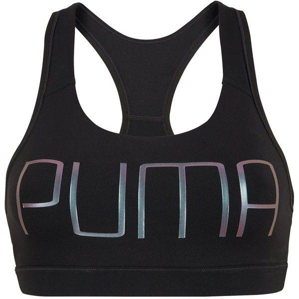 Puma Powershape Forever Logo Bra ($25) ❤ liked on Polyvore featuring activewear, sports bras, logo sportswear, puma sports bra, puma activewear and puma sportswear