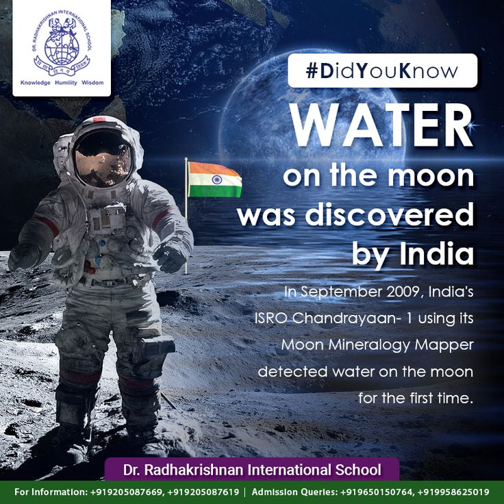 #DidYouKnow In September 2009, India's #ISRO #Chandrayaan- 1 using its Moon Mineralogy Mapper detected water on the moon for the first time. #DrRadhakrishnanInternationalSchool #Students #Education