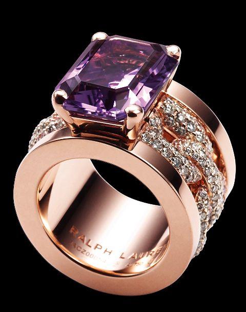 Ralph Lauren - pink gold, amethyst & diamond ring