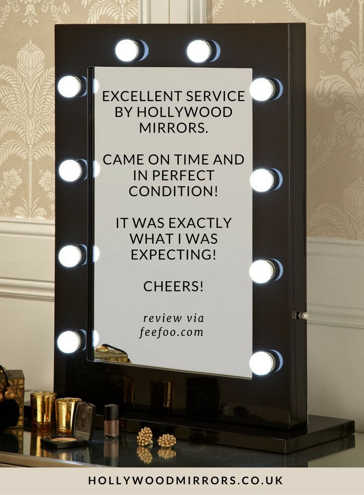 Feefo Customer Review Hollywood Mirror in Black Gloss | SHOP NOW at https://www.hollywoodmirrors.co.uk/products/makeup-vanity-mirror-with-lights-for-sale Makeup Mirror with Lights Dressing Table Mirror with Lights Vanity Mirror with Lights Illuminated Makeup Mirror Holllywood Mirror UK Light Up Makeup Mirror Hollywood Mirrors