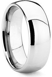 King Will Men's 8mm Classic High Polished Comfort Fit Domed Tungsten Metal Ring Wedding Band