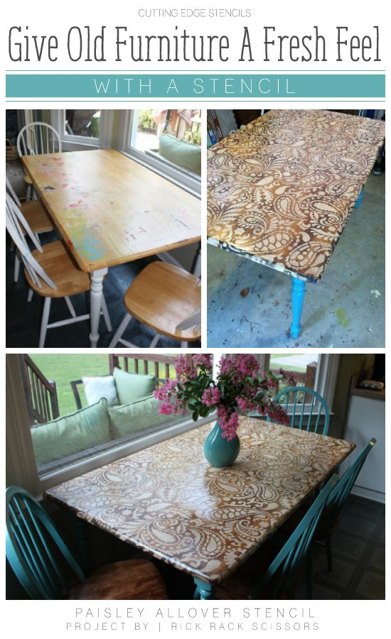 DIY stenciled table using the Paisley Allover Stencil. http://www.cuttingedgestencils.com/paisley-allover-stencil.html #furniture #stenciling #painting #restoration