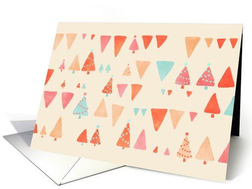 Modern Christmas card, trees & triangles, tangerine, orange, peach, aqua, cream, pink, cute, simple, minimalist, stars, watercolor