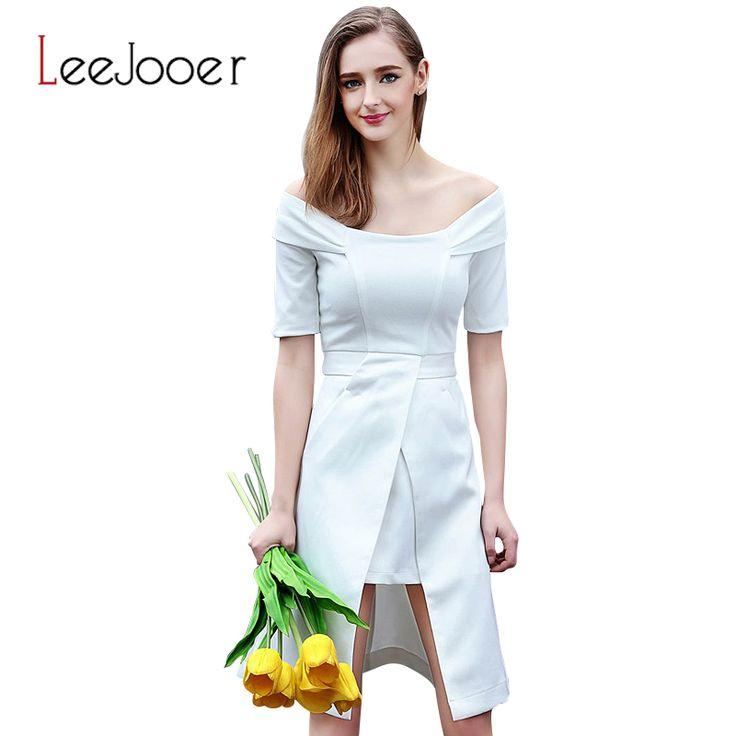 LEEJOOER Women Dress 2016 Summer Style Fashion European Style Party Female Dresses Casual Short Sleeve Knee Black White Dress
