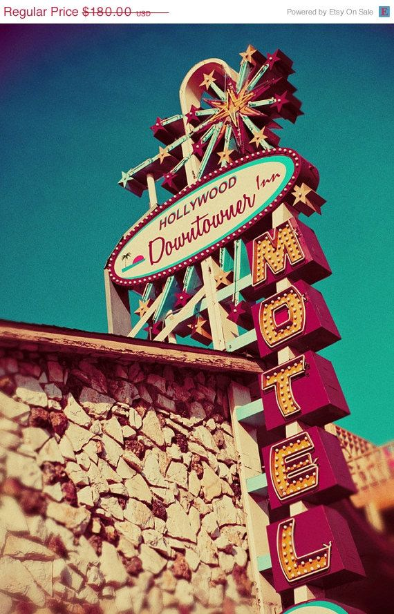SALE Hollywood Downtowner Motel - Vintage Neon and Plastic Sign - Mid Century Modern Art - Los Angeles Home Decor - 24X36 Fine Art Photogra