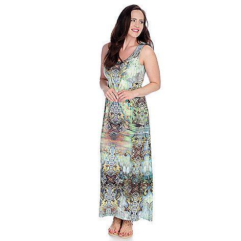 One World Micro Jersey Sleeveless Embellished Printed Maxi Dress ...