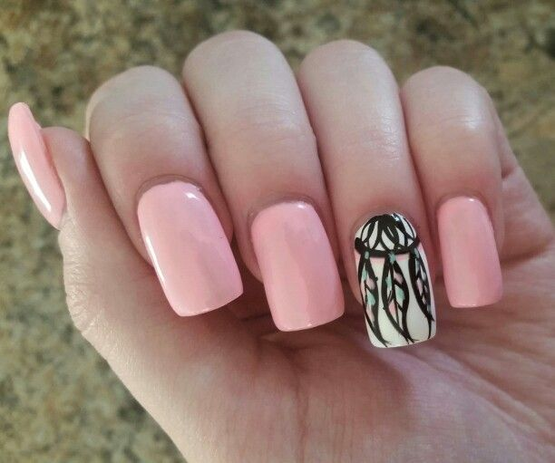 Dream catcher pink acrylic nail design