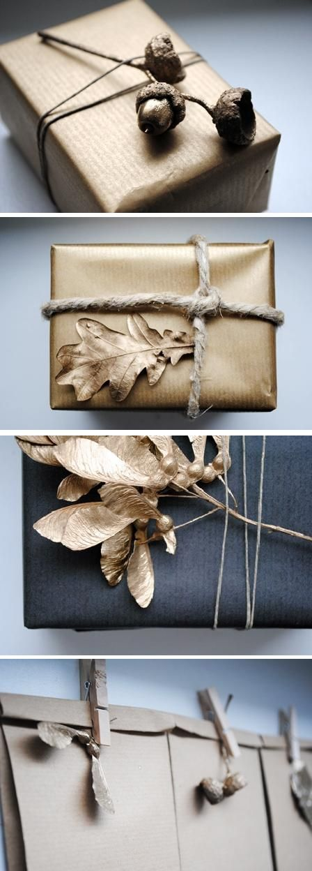 Add gold spray paint to natural elements like acorns and leaves to embellish your packages. #giftwrap