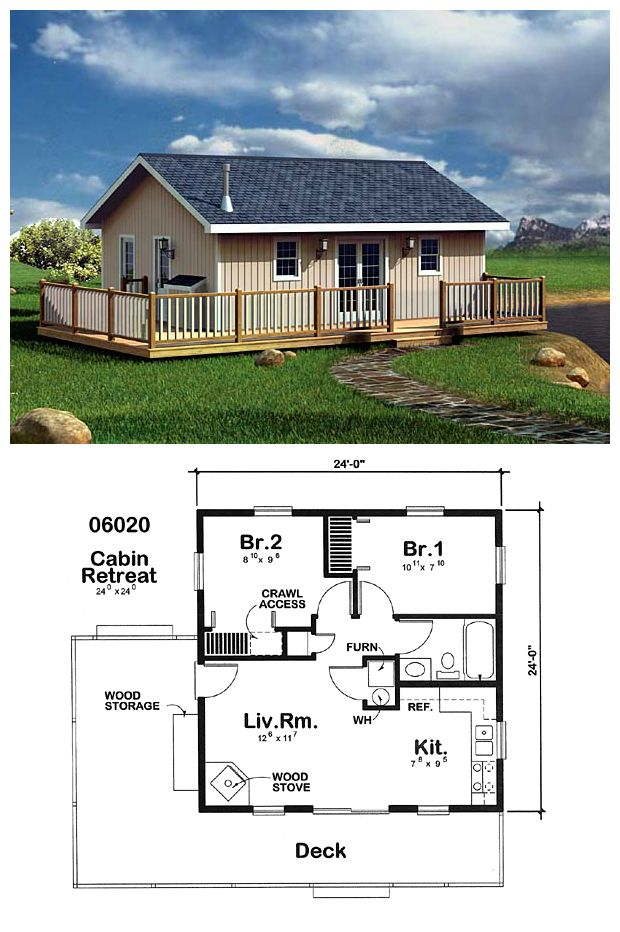 #NarrowLot #HomePlan 6020 measures 24' by 24'. With two bedrooms, 1 shared bathroom, kitchen, living room with wood stove and a deck, this design has everything you need for modest living.