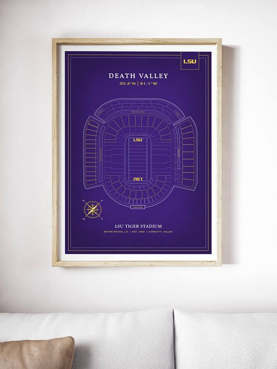 LSU Tiger Stadium Print | Death Valley | LSU Tigers Art | LSU Football |  Decor | Graduation Gift | Louisiana State University    All Artwork Is  Printed On ...
