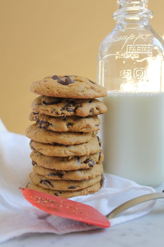 Pumpkin Peanut Butter Chocolate Chip Cookies by Hip Foodie Mom with spatula