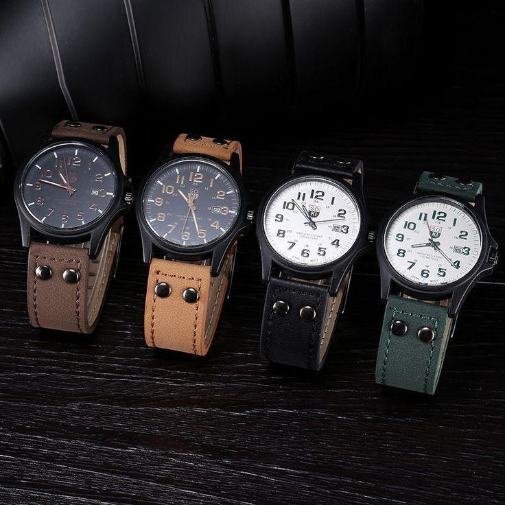 Men's Fashion Sport Watches Men Military Leather Band Quartz Wrist Watch…