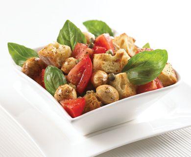 Panzanella with Tre Stelle® mini mini Bocconcini #salad #healthyrecipe #bocconcini
