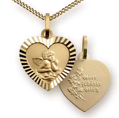 Halskette Schutzengel/Herz 333er Gold mit Kette