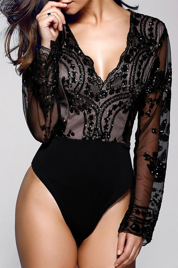 $20.65 Stylish Plunging Neck Long Sleeve Floral Sequined Women's Bodysuit