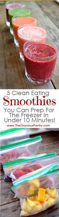 5 Simple Clean Eating Smoothies // prep ahead for easy weekday breakfasts #protein #healthy #mealprep
