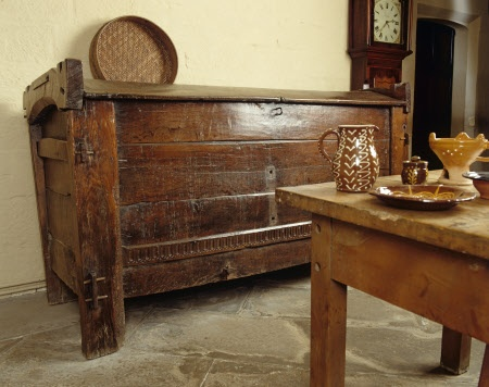 The sixteenth or early-seventeenth century, oak, grain ark in the Kitchen at East Riddlesden Hall, West Yorkshire