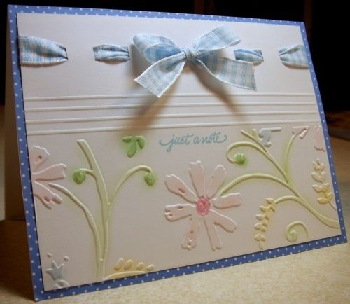 nice ribbon embellishment and colorsCuttlebug Ideas, Ribbons Techniques, Embossing Folder, Cuttlebug Cards, Ribbons Ideas, Pretty Cards, Stylized Flower, Cuttlebug Embossing Cards, Note Cards