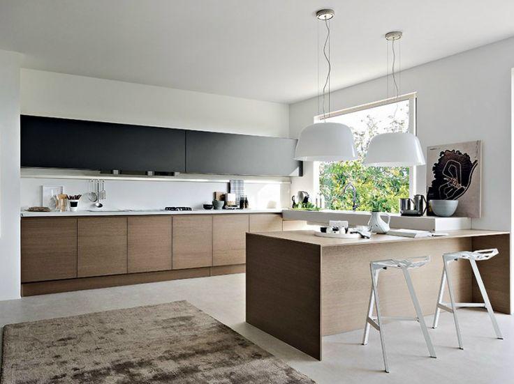 Cozinha de madeira com península INTEGRA | Cozinha com península - Pedini