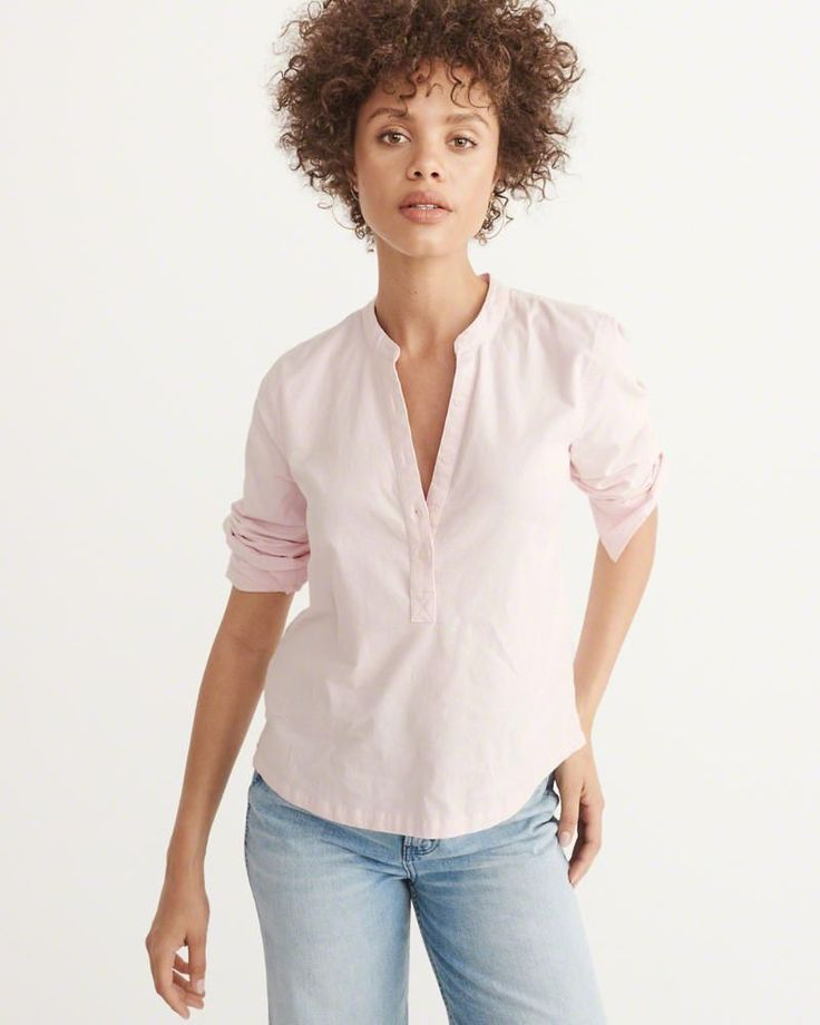 A&F Women's Oxford Popover Shirt in Light Pink - Size XL #oxfordwomens