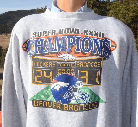 new product bfee5 79c03 vintage 90s sweatshirt denver BRONCOS nfl football superbowl ...