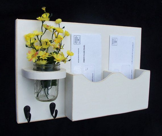 Mail Organizer - Mail Holder - Letter Holder - Mail and Key Holder  - Key Hooks - Jar Vase - Organizer - Painted Distressed Wood