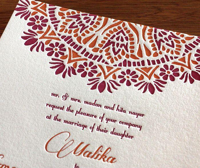 malika letterpress wedding invitation by invitations by ajalon