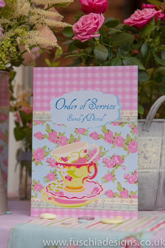 Wedding stationery. Time for Tea vintage order of service or day. www.fuschiadesigns.co.uk