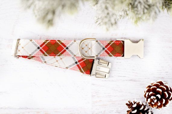 Winter Plaid White Dog Collar Unisex Dog Collar Festive. Ask about leash. Upgrade to gold hardware and buckle. Check comment section.