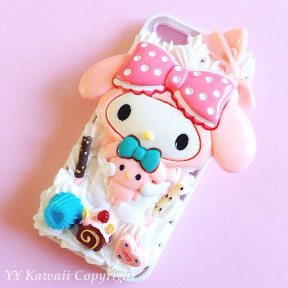 My Melody or Kuromi Kawaii silicone Decoden phone case for IPhone 4S, iPhone 5 5s 5c or Samsung Galaxy S2 S3 S4 or HTC One on Etsy, $20.00