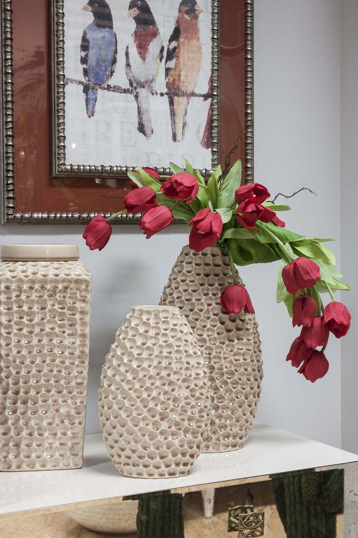 Tulips w/ decorative vase #HomeSweetHome #GreenApple #GAhomestyle #homestyle #FlowerArrangement #ceramic #Flowers #decorative #red