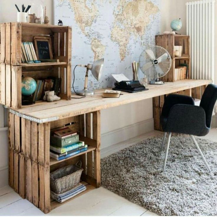 L Desk: Home office de caixote
