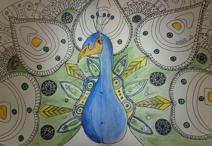 Pfau - Aquarellfarbe und Gelschreiber