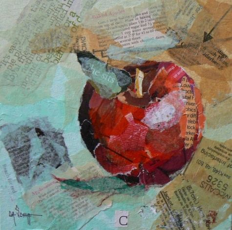 Apple of Many Words, painting by artist Carol Schiff Great collage ideas.