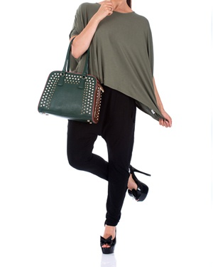 Cocoon Wide Boxy Top Olive